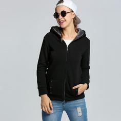 Dámská podzimní mikina s kapucí a kožíškem na zip ČERNÁ – VELIKOST L Na  tento produkt dfa2b84739