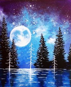 Moonrise Lake at Capitol Music Club - Paint Nite Events near Saskatoon, SK> Winter Painting, Diy Painting, Painting & Drawing, Lake Painting, Winter Art, Painting Canvas, Winter Time, Picasso Paintings, Original Paintings