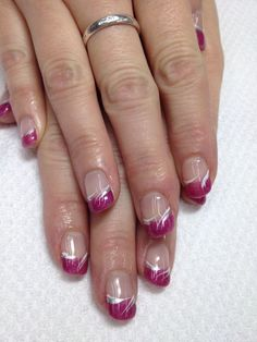 Love these fun pink French gel nails! And swished accents ties the whole look t. Love these fun pink French gel nails! And swished accents ties the whole look together! Of course, all non-toxic and odorless! day nails acrylic french tips Fancy Nails, Pink Nails, Cute Nails, Gel Nails, Acrylic Nails, Pretty Nails, French Manicure Nail Designs, Pink Nail Designs, French Tip Nails