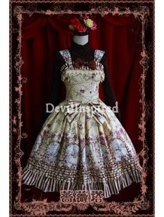 Yellow Floral Pattern Bow Sweet Rococo Lolita Jumper Skirt