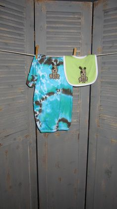 Funky Layette Set Infant Baby Sack with Bib Dog by designsbyagi
