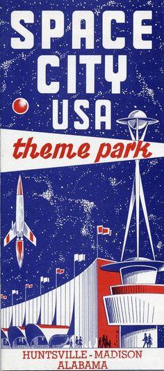 Space City USA. ( Retro Futurism / Vintage Future / Atomic Age / Space Age / Rocket Ship / Theme Park )