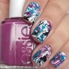 """""""Splatter nails created for Day 3 of the New & Improved week! Polishes used: Xtreme White On and Flowerista…"""" Splatter Paint Nails, Colored Acrylic Nails, Simple Acrylic Nails, Gel Nagel Design, Nails For Kids, Funky Nails, Nagel Gel, Stylish Nails, Cute Nail Designs"""