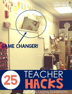 25 Teacher Hacks for a Successful Classroom - Lucky Little Learners One more teacher hack is to use a full length mirror to attach at an angle above the white board. The angle will give full vision of the classroom full of children behind you. Classroom Hacks, Classroom Behavior, Classroom Setup, Science Classroom, Future Classroom, Classroom Management, Classroom Teacher, Behavior Management, Year 2 Classroom