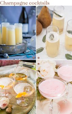 4 champagne cocktail recipes for your wedding, signature cocktail, and bridal shower cocktail options for guests