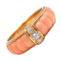 VAN CLEEF & ARPELS Diamond Blush Coral Yellow Gold Ring | From a unique collection of vintage cluster rings at http://www.1stdibs.com/jewelry/rings/cluster-rings/