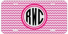 Personalized Monogrammed Chevron Hot Pink License Plate Custom Car Tag L367