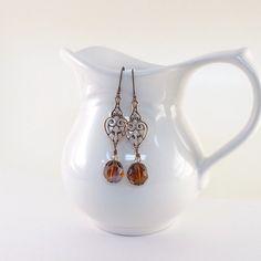 Long Copper Earrings Antique Copper Topaz by CinLynnBoutique, $18.00