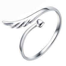 R352 Tamanho Ajustável Anel Banhado A Prata Moda Exquisite Anel da Asa do Anjo Do Amor Do Coração Anéis Jóias para mulheres Anillos Bijoux QUENTE(China (Mainland))