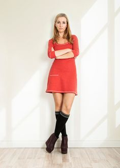 Red dress Fall dress Cotton dress Knit dress Home warm by folco