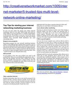 5-trusted-tipsformultilevelnetworkonlinemarketingnew by retrofaz via Slideshare