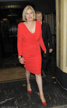 A passion for red after all? Wearing a rather risque outfit at the Dorchester Hotel back in 2010