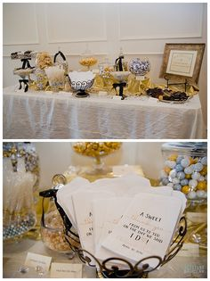 Black and Gold Candy Bar at Milestone Krum Wedding by brittanybarclay.com