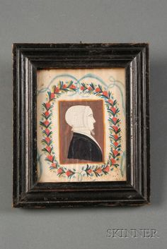 Portrait Miniature of a Woman Surrounded by a Floral Wreath, American School, 19th Century .