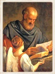 The Evangelist Matthew inspired of the Angel Saint Matthew, Catholic Saints, Doa, Book Art, Prayers, Books, Painting, Inspired, Saints