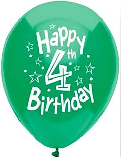 """Custom, Fun & Cool {Big Large Size 12"""" Inch} 8 Pack of Helium & Air Inflatable Latex Rubber Balloons w/ Happy 4th Birthday Design [in: Variety Assorted Multicolor] mySimple Products"""