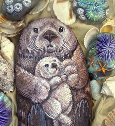 Sea Otter Original Painting on Stone  Mom and Pup  by Naturetrail, $165.00
