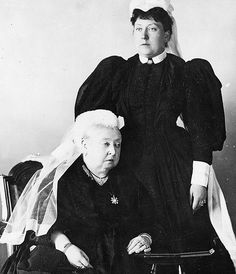 "theroyalfamilyofbritain: "" Queen Victoria with her daughter, Princess Beatrice, pictured "" I have my doubts that this was taken in Why? cause Beatrice is wearing widow clothes and Henry. Queen Victoria Family, Queen Victoria Prince Albert, Victoria And Albert, Elizabeth Ii, Reine Victoria, Kensington, British History, Asian History, Tudor History"