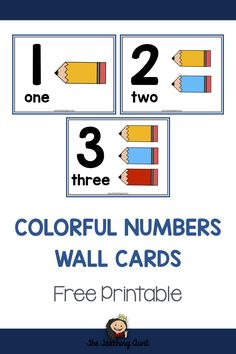 Number Wall Cards for Preschoolers with Colorful Pencil Counters - The Teaching Aunt Preschool Charts, Preschool Number Worksheets, Number Flashcards, Numbers Kindergarten, Teaching Numbers, Numbers Preschool, Preschool Printables, Kindergarten Worksheets, Nursing Printables