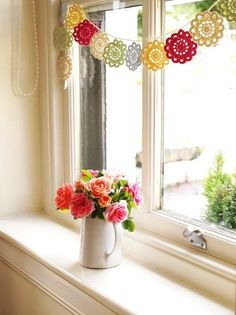 Rustic Floral Hanging Crochet Garland Pattern - Wall Decor, Window Decor, Country Roses - LoveItSoMuch.com