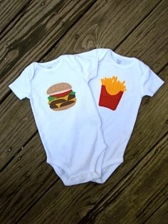 Twin Baby Clothes Cheeseburger and French Fries Onesie. $36.00, via Etsy.