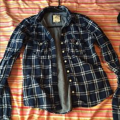Hollister button up! Navy blue & white plaid button up shirt! Basically brand new! Only worn a couple times. Very cute  Hollister Tops Button Down Shirts