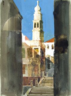 Venetian Church Watercolor and mixed media on paper 14½ x 11 inches (36.9 x 27.9 cm) $3,500 Click here for more information