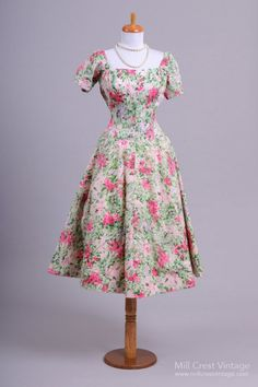 1950 Cotton Garden Floral Vintage Day Dress
