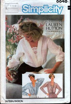 Vintage Sewing Pattern 1980s Lauren Hutton Blouses Simplicity 6648