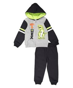 Look what I found on #zulily! Black & Green 'T-Rex' Hoodie & Pants - Infant & Boys #zulilyfinds