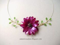Necklace Wire flowers with nail polish / Цветы из проволоки и лака для ногтей by semeistvoadams.blogspot.com