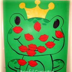Plant a kiss on the frog game-Vday party Fairy Tale Crafts, Fairy Tale Theme, Fairy Tales, Fairy Tale Projects, Valentines Games, Valentines Day Party, Valentine Crafts, Kindergarten Party, Princess Crafts