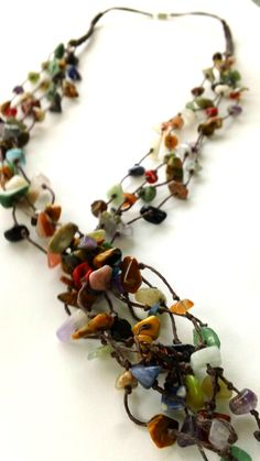 Multicolor and Multistrand Stone Necklace