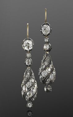 Antique Old Mine Diamond Spiral Pendant Earrings, French, circa 1880.   I LOVE this style!