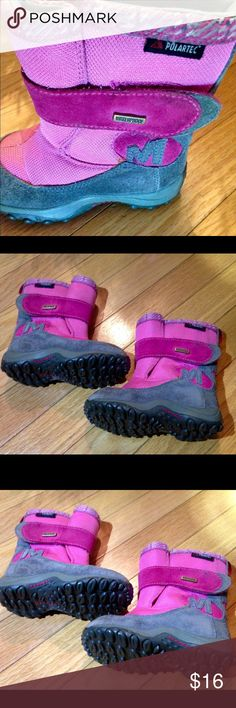 MERRELL WINTER BOOTS MERRELL. Waterproof winter boots. Pink and gray. Velcro closure. Light wear. Size 7 Merrell Shoes Rain & Snow Boots