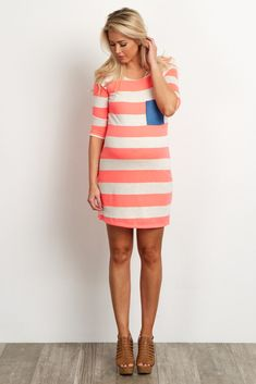 Pink-Striped-Polka-Dot-Pocket-Maternity-Dress/Tunic