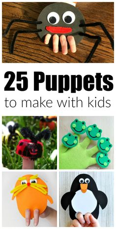 25 Crazy Awesome Puppets to Make with Kids. These super silly puppet crafts are perfect for a rainy day, themed school units, story time enhancers and pack-n-play activities for babysitters. Includes finger puppets and hand puppets.