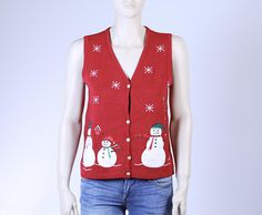 Red Christmas Sweater Vest with Snowmen, Vintage Christmas Sweater Vest, Cute Christmas Vest, Ugly Sweater Contest, Ugly Sweater for Women Vintage Christmas Sweaters, Vintage Sweaters, Ugly Christmas Sweater, Have A Happy Holiday, Lace Denim Shorts, Vintage Outfits, Vintage Fashion, Red Christmas, Collar Shirts