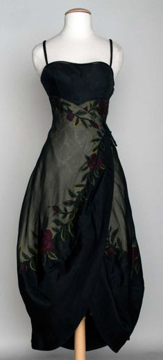 Black illusion silk, tulip skirt with metallic flower band, ball gown, Jean Desses Paris, c. 1960s
