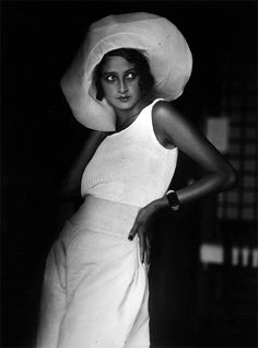 Chanel, 1930 Model in white Summer outfit with White Hat