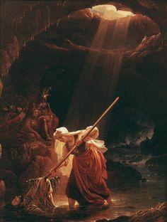 Lemminkäinen's Mother at the River of Tuonela, 1862 by Robert Wilhelm Ekman (Finnish, Mythology Paintings, Crazy People, Strange People, Celtic Art, Old Paintings, Historian, Aesthetic Art, Dark Art, Underworld