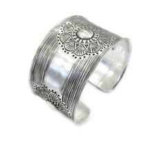 Handmade Sterling Silver wide Cuff BraceletSun/ by SilverShapes