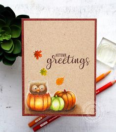 Sunny Studio Stamps: Autumn Greetings Owl In A Pumpkin Card by Vanessa Menhorn