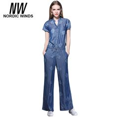 ba8d389cd37 Nordic Winds Floral Print Jumpsuits Jeans Women Fashion Full Length Short  Sleeve Cowboy Style Casual Tencel Denim Jumpsuit Girls