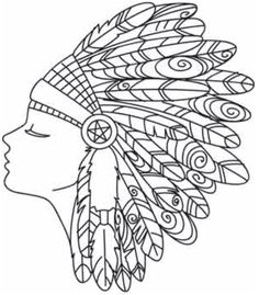 Embroidery Designs at Urban Threads - Feather Headdress Embroidery Designs, Embroidery Transfers, Paper Embroidery, Embroidery Stitches, Simple Embroidery, Colouring Pages, Adult Coloring Pages, Coloring Sheets, Coloring Books
