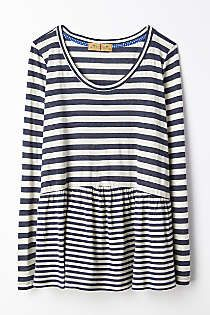 Anthropologie - Striped Peplum Tee