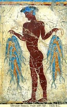 A man with fishes- Greek Island Santorini Thira Town of Fira exhibition of Reconstructions of the Minoan wall paintings of Acrotiri Ancient Mysteries, Ancient Ruins, Ancient Artifacts, Ancient Greece, Ancient Egypt, Ancient History, Minoan Art, Bronze Age Civilization, Mycenaean