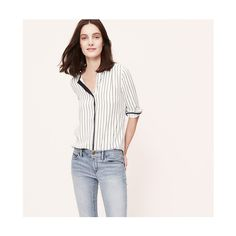 LOFT Ink Stripe Collarless Blouse ($25) ❤ liked on Polyvore featuring tops, blouses, whisper white, long sleeve blouse, ruched top, white collarless blouse, collarless blouse and jeweled tops