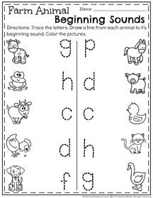 Preschool Farm Animals Beginning Sounds Worksheet for March
