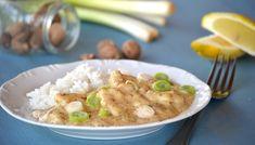 Tengeri hal újhagymás-szerecsendiós mártásban | moksha.hu Risotto, Potato Salad, Potatoes, Fish, Chicken, Meat, Ethnic Recipes, Potato, Ichthys